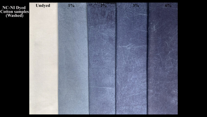 A variety of indigo-dyed fabrics are shown in different shades of blue