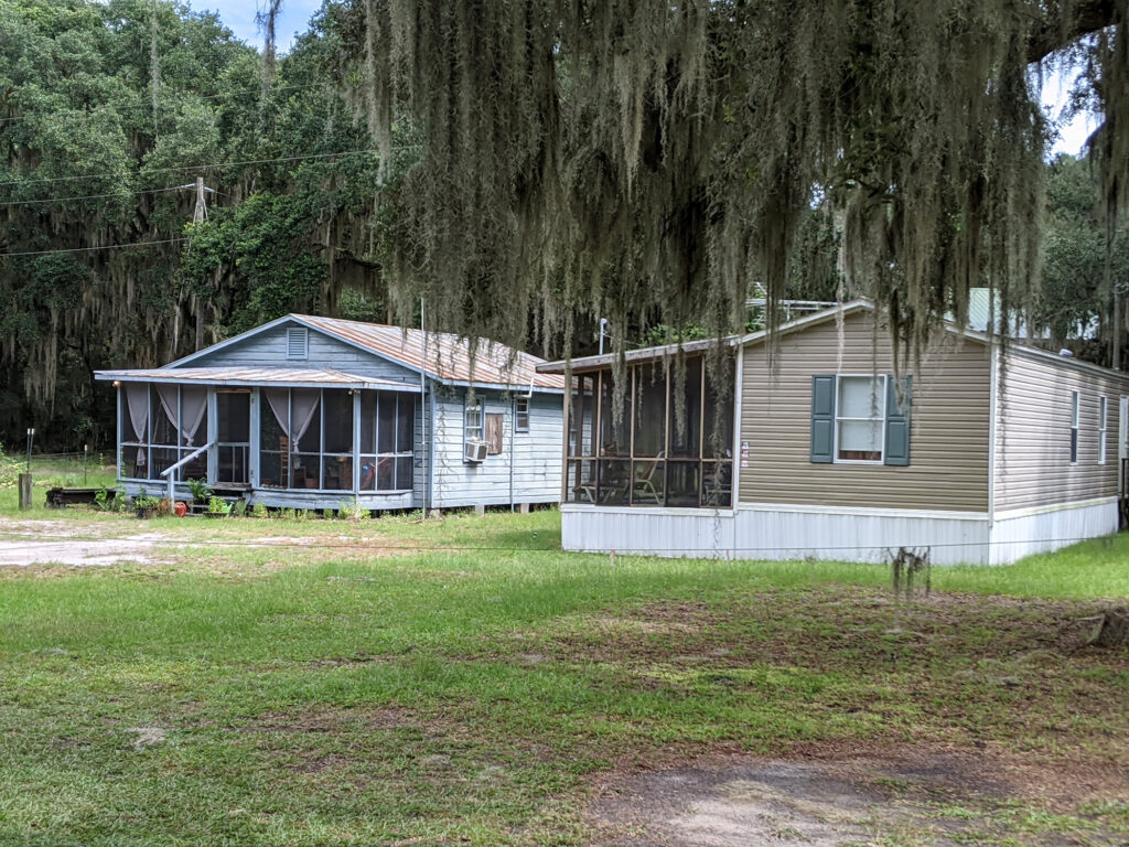 The exterior of two small houses on the island of Sapelo.